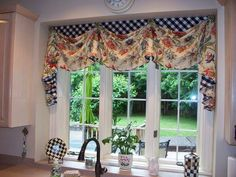 Love this valance with the contrasting black and white checks! From The Workroom of Parkway Window Works Valances For Living Room, Valance Curtains, Valence Curtains
