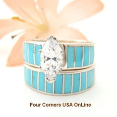 Four Corners USA Online - Size 7 Turquoise Bridal Wedding Engagement Ring Set Native American Indian Jewelry WS-1419, $240.00 (http://stores.fourcornersusaonline.com/size-7-turquoise-bridal-wedding-engagement-ring-set-native-american-indian-jewelry-ws-1419/)