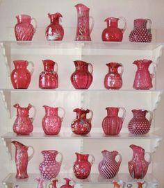 Cranberry Opalescent Glass @ Houston Museum of Decorative Arts, Chattanooga Fenton Glassware, Antique Glassware, Crystal Glassware, Fenton Lamps, Old Bottles, Glass Bottles, Antique Bottles, Perfume Bottles, Cranberry Glassware