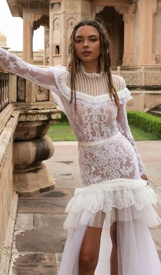 lior charchy India 2018 bridal long sleeves high neck full embellishment bohemian short wedding gown with detachable gown : Lior Charchy 2018 Wedding Dresses #weddingdress #wedding #weddingdresses