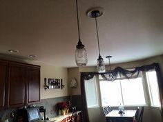Mason Jar Hanging Pendant Light by Ginger Hawk Customs.  Starting at just $75 each. Custom Creations, Curtains, Valance Curtains, Home, Mason Jars, Hanging, Hanging Pendant Lights, Home Decor, Ceiling Lights