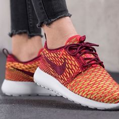 {Nike} Roshe Flyknit Women's size 10. Color: dark red, orange, yellow, white..... Brand new, never been worn. I'll pack them in a designer box to keep them safe. ❗️Price is firm, even when bundled ❗️   ❌ No Trades/ No PayPal  ❌ No Lowballing  ✅ Bundle Discounts ✅ Ship Same or Next Day  % Authentic Nike Shoes