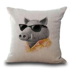 Designer Throw Pillow Case /Cushion Cover (Rabbit Sheep Moose Chick Pig)