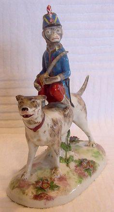 French Old Paris Vincent Dubois La Courtille Figurine Dog w Circus Monkey