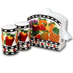 Ceramic Mix Fruit Napkin Holder Table Top Set with Salt Pepper Shakers . $5.74. Ceramic Mix Fruit Napkin Holder Table Top Set with Salt Pepper Shakers