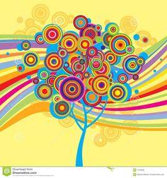 Priorità Bassa Multicolore Con Un Albero Fotografia Stock - Immagine: 7122382