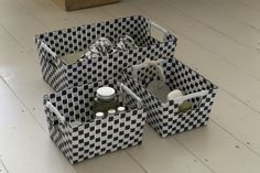 Plastic laundry baskets in a bold chequered style; perfect for adding glamour to the laundry room or bathroom.