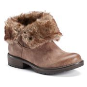 Candie's Women's Fold Over Fur Ankle Boots, size 8.5, color stone