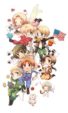 Hetalia ~ England, Italy, China, America, France, Germany, Japan and Russia