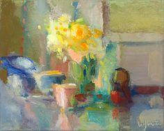 Christine Lafuente, Daffodils, Teacup, and Clock