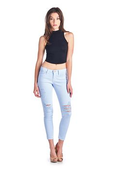 Parkers Jeans - D5333 - Sky  #frayed #denim #ankle #skinny #distressed #ripped #jeans #frayedhem #midrise #lookbook
