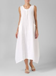 Soft White Linen Sleeveless Long Dress