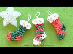 Christmas stocking charm rainbow loom. In french.
