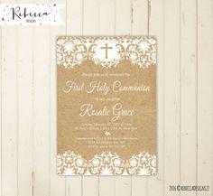 rustic first communion invitation girl first por RebeccaDesigns22