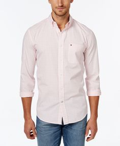 Highlight your timeless style with this long-sleeve shirt from Tommy Hilfiger. | Cotton | Machine washable | Imported | Button-down collar | Button front | Long sleeves | Front pocket with logo | Chec