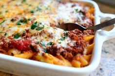Baked Ziti - classic Italian American comfort food of pasta baked with sausage, tomato sauce and all kinds of gooey, yummy cheeses. So EASY and so good! Italian Dishes, Italian Recipes, Beef Recipes, Cooking Recipes, Recipies, Croatian Recipes, Cooking Pork, Hungarian Recipes, Cooking Games