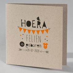 Wedding & birth announcements Oosterwolde, Birth card kraft with fluorescent orange. Handlettering For Beginners, Letter Art, Letters, Birth Announcement Sign, Birth Announcements, Baby Girl Cards, Card Book, Doodle Drawings, Cute Cards