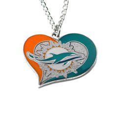 Miami Dolphins Women's Swirl Heart Necklace