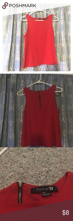 Red Crop Top Forever 21 Red Crop Top with mid-length zipper on back. Lined on top half of inside. Forever 21 Tops Crop Tops