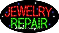 """Animated Jewelry Repair LED Sign-ANSAR24228  15""""x27""""x1""""  Animated  8lbs  Indoor use only  Low energy cost: Uses ONLY 10 Watts of power  Expected to last at least 100,000 hrs  Cool and safe to touch, low voltage operation  High visibility, even in daylight  Easy to clean, Easy to install, Slim & Light Weight  Maintenance FREE  1 YEAR Warranty."""