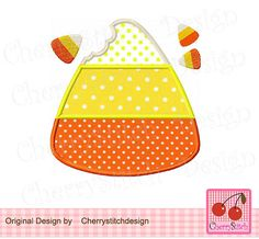 Fall Halloween Candy Corn for 4x4 5x7 6x10 by CherryStitchDesign, $2.99