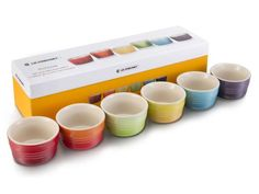 Le Creuset Mini Rainbow Ramekins, Set of 6 - These ramekins are the perfect depth to bake mini casseroles, meat pies or desserts such as mousse or crème brûlée. They are also the perfect size to serve dips, cheeses, salsa or condiments on the table. Featuring the iconic colours of Le Creuset, this rainbow set makes for an ideal gift.