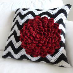crochet chevron flower pillow cover