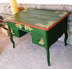 desk with hungarian motifs
