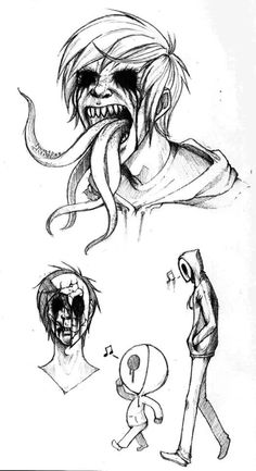 Dark and creepy things fascinate me. Dark and creepy things fascinate me. Creepy Sketches, Creepy Drawings, Dark Art Drawings, Creepy Art, Cool Drawings, Drawing Sketches, Eyeless Jack, Arte Obscura, Scary Stories