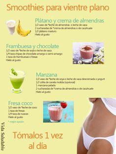 Smoothies para un vientre plano www.pinterest,com/imeba Tips #nutrición #saludable