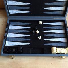 Vintage Backgammon Set Plush Felt Interior Faux by VintageFlicker
