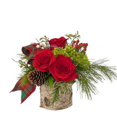 Woodland Posy: A birchbark pail has lovely red roses, green hydrangea and special touches like tartan ribbon. Winter Floral Arrangements, Christmas Flower Arrangements, Artificial Floral Arrangements, Table Arrangements, Christmas Wreaths, Christmas Crafts, Christmas Decorations, Christmas Floral Designs, Feather Centerpieces