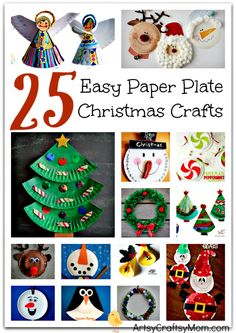 25 Easy Paper Plate Christmas Crafts for kids - Includes paper plate craft trees, bells, reindeer, Santa Claus, elves, Frozen Olaf , penguins & wreaths.