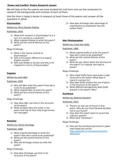 Power and Conflict context worksheets that could be used as starters, homework, cover lessons, part of extended projects and more. Includes worksheets on P. English Literature Poems, Gcse Poems, Teaching Resources, Teaching Ideas, Gcse English Language, Gcse Revision, Poetry Anthology, Poetry Unit, Secondary Math