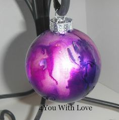 4 You With Love: Homemade Holiday Inspiration Day 9 - Marbled Glass Ornament with Alcohol Inks