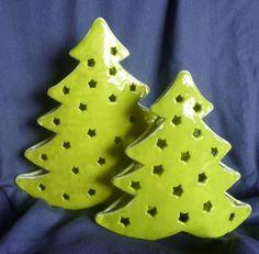 Windlichter - Weihnachtsbäume für Teelichter - ein Designerstück von Keramikarte…