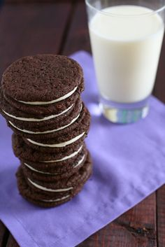 Homemade Oreos - used Hershey's Special Dark cocoa & 1 c. sugar in cookie dough to balance sweetness of filling.
