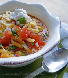 Really flavorful and easy taco soup. Plus, I think it's a weight watchers recipe.