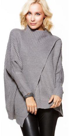 LikeLondon tröja grå med snygg ståkrage och design 58ab5756f53a5