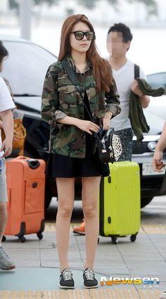 Sooyoung airport fashion. army style