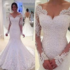 Timeless V-Neck Long Sleeves Sweep Train Mermaid Wedding Dress with Beading