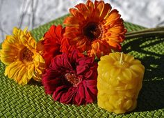 Pretty Daisy Pillar Candle  Pure Beeswax by BurnstownBees on Etsy, $5.00