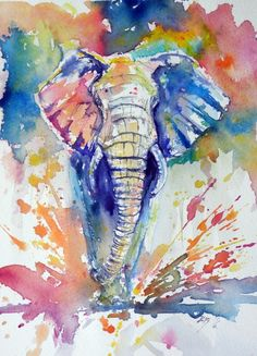 Original watercolour painting on high quality watercolour paper. I love landscapes, still life, nature and wildlife, lights and shadows, colorful sight. These things inspired me and appeared many o. Colorful Elephant, Colorful Animals, Elephant Art, Elephant Paintings, Elephant Nursery, Watercolor Animals, Watercolor Paintings, Elephant Watercolor, Elephant Wallpaper