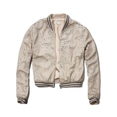 Abercrombie & Fitch Bella Sequin Bomber Jacket ($72) ❤ liked on Polyvore featuring outerwear, jackets, nude sequin, shiny jacket, abercrombie & fitch jacket, pink jacket, blouson jacket and abercrombie & fitch
