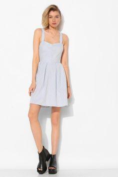 BDG Bow-Back Stripe Sweetheart Dress