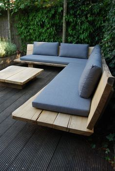 Outdoor Lounge, outdoor furniture, outdoor couch, DIY, wood