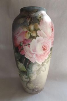 A 13 high truly beautiful antique Limoges 13 high vase with stunning hand painted pink and white cabbage roses. This is marked B Co. Limoges France