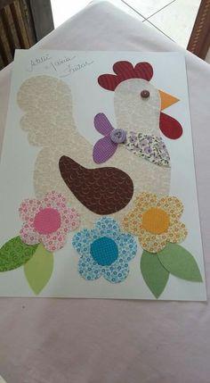 Galinha Sewing Appliques, Applique Patterns, Applique Quilts, Applique Designs, Quilt Patterns, Quilting Projects, Sewing Projects, Projects To Try, Patch Quilt
