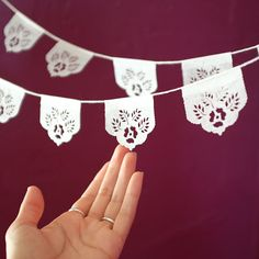 LAS FLORES mini papel picado banners Ready Made by AyMujer