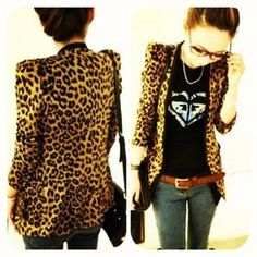 A cool printed blazer like this one would be kewt.  PrettyPinkDazzle — Leopard Blazer Suede